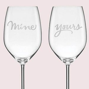 Kate Spade 2 of a kind mine/yours wine glass pair